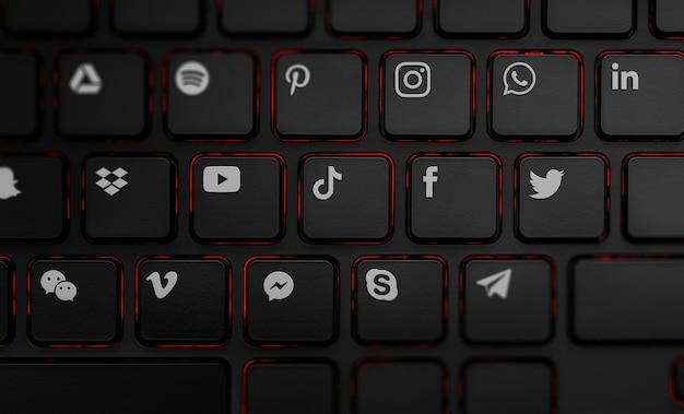Clavier pc noir avec des icônes de médias sociaux