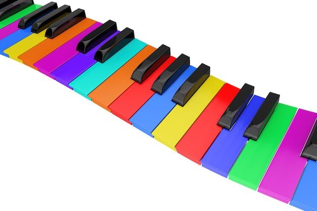Clavier de piano coloré ondulé abstrait sur fond blanc. rendu 3d