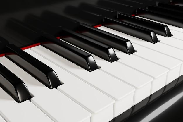 Clavier de piano vue rapprochée illustration 3d