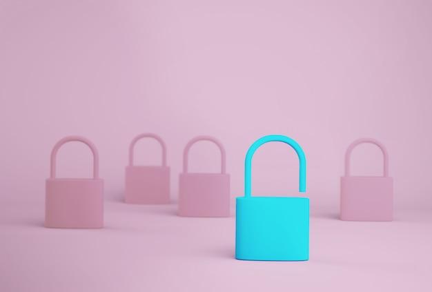 Une clé bleue exceptionnelle déverrouille une personne différente des autres sur fond bleu. concept de chef d'équipe entreprise prospère.