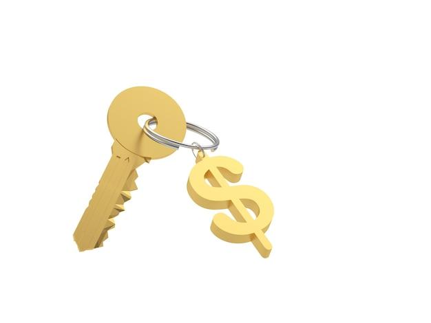 Clé dorée avec porte-clés signe dollar