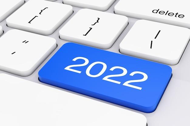 Clé du nouvel an bleu 2022 sur clavier pc blanc gros plan extrême. rendu 3d