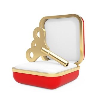 Clé de liquidation d'or dans la boîte-cadeau rouge sur fond blanc. rendu 3d