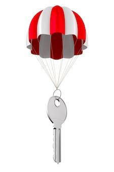 Clé métallique et parachute sur blanc