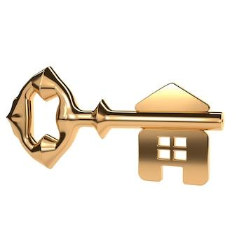 Clé d'or abstraite avec une surface brillante et la maison.