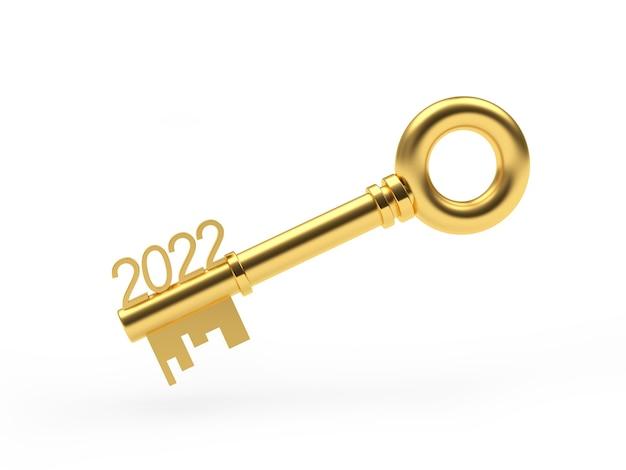 Clé d'or avec des nombres de nouvelle année
