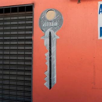 Clé peinte sur le mur d'un magasin, zona 1, guatemala city, guatemala