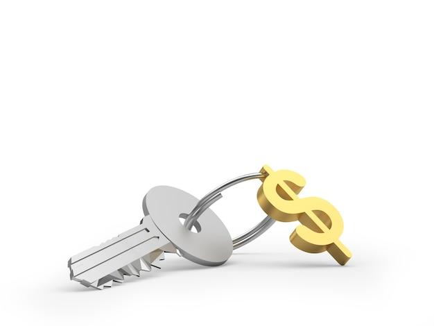 Clé avec signe dollar porte-clés or