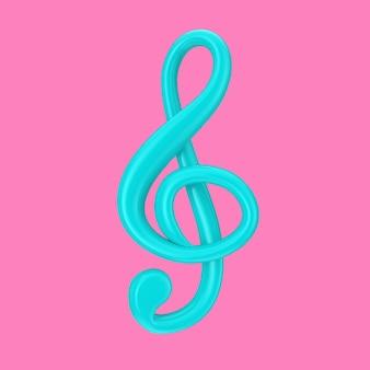 Clé de sol bleue en style duotone sur fond rose. rendu 3d