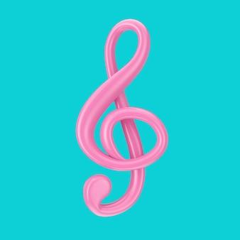 Clé de sol rose en style duotone sur fond bleu. rendu 3d