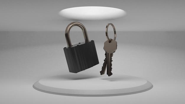 Clés 3d et cadenas sur le fond du stand pour démontrer la conception. lumière diffuse d'en haut. rendu 3d.