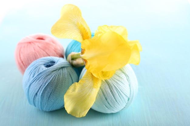 Clews colorés et fleur d'iris frais sur bois de couleur