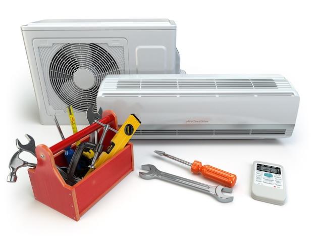 Climatiseur avec boîte à outils et outils. réparation du concept de climatiseur. 3d