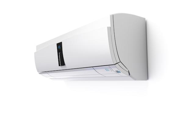 Climatiseur à écran tactile blanc neige isolé sur mur blanc rendu 3d