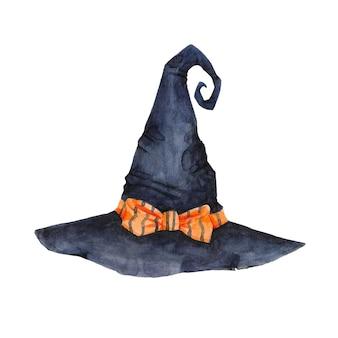 Clipart de chapeau de sorcière aquarelle isolé sur fond blanc chapeau magique avec illustration d'arc orange