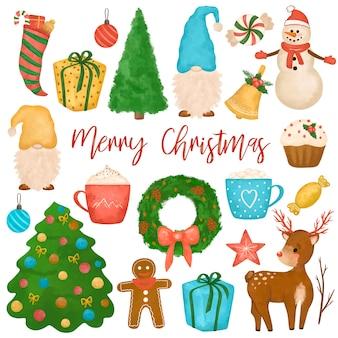 Clipart de noël dessiné à la main, grand ensemble de nouvel an, bonhomme de neige, gnomes, arbre de noël, cerf, gâteaux, cadeaux