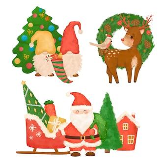 Clipart de noël dessiné à la main, illustration du nouvel an, santa, gnomes, cerf, ensemble de noël isolé