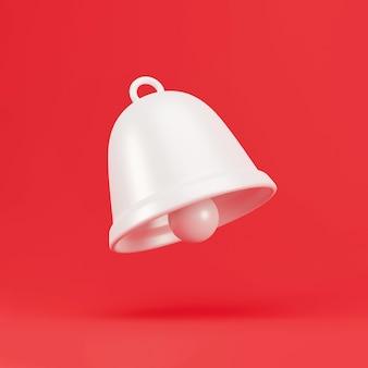 Cloche de notification blanche 3d. icône de cloche de notification minimale isolée sur fond pastel. élément de médias sociaux. rendu 3d