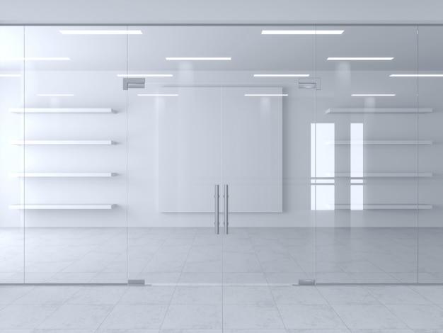 Cloison en verre et portes de bureau ou de magasin.