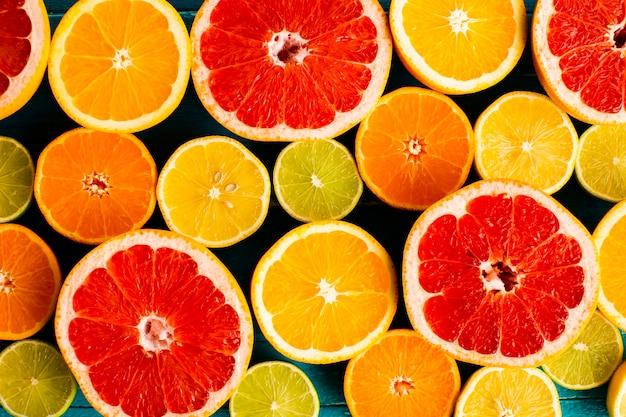 Close-up agrumes naturels et frais mélangés