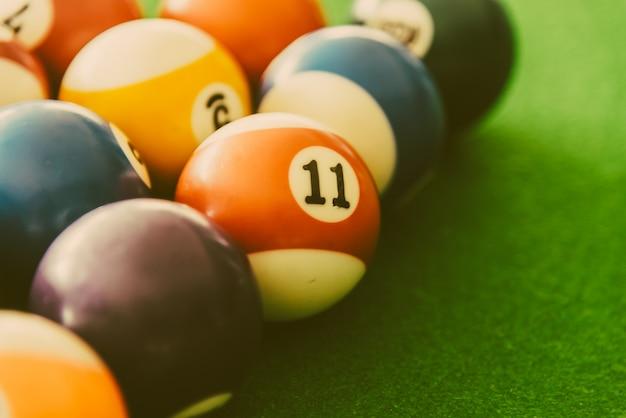 Close-up des boules de billard