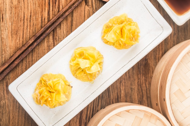 Close up de boulettes cuites à la vapeur chinoises fraîches