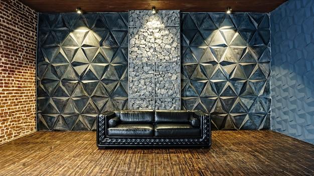Close-up de canapé en cuir noir. meubles de luxe