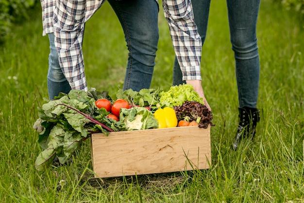 Close-up couple avec panier de légumes