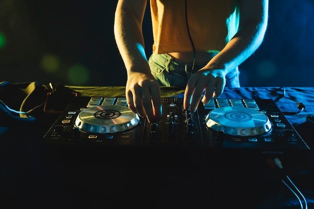 Close-up dj equipment on table