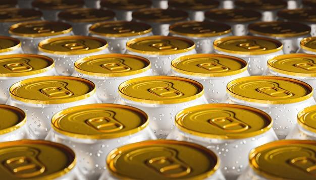 Close-up fond de canettes de soda avec couvercle doré et recouvert de gouttes