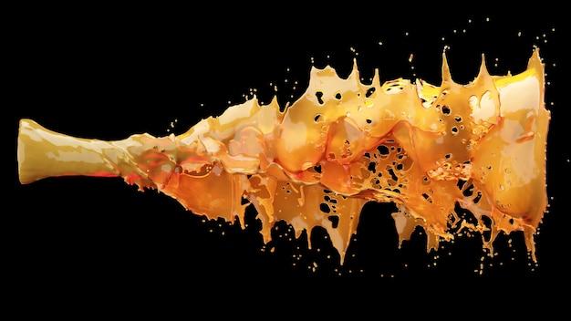Close up jus d'orange éclaboussures de liquide sur fond noir