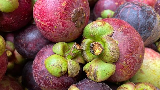 Close up mangoustan texture background, fruits tropicaux thaïlande