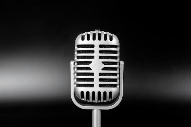 Close Up Microphone Vintage Prêt à Podcats Photo Premium