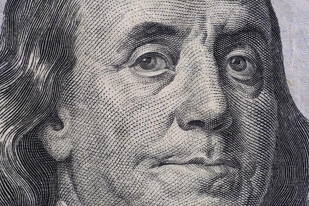 Close up portrait détaillé de franklin sur les billets en dollars américains