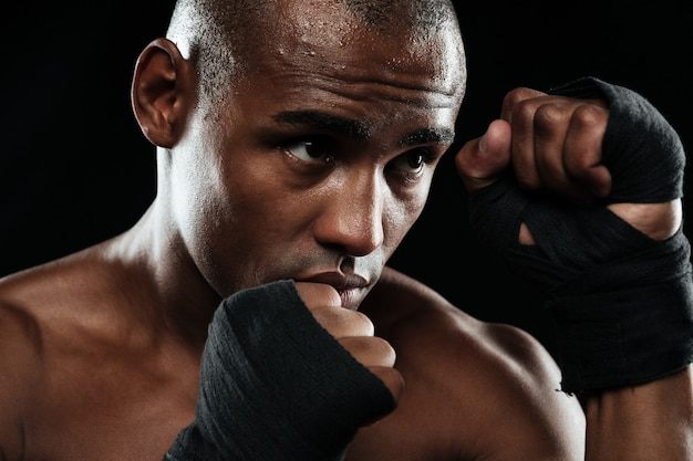 Close-up portrait of afroamerican boxer