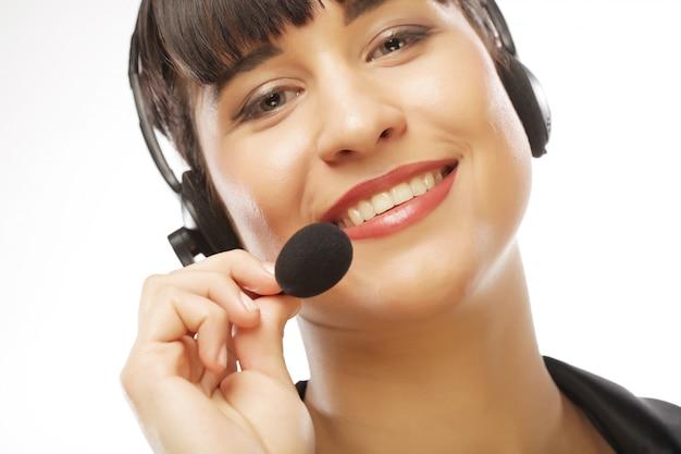 Close up portrait of woman service client travailleur
