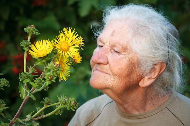 Close-up portrait d'une vieille femme aux cheveux gris, souriant et reniflant une grande fleur jaune, visage dans les rides profondes