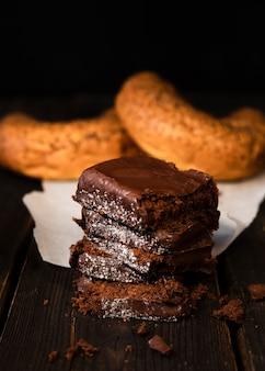 Close-up savoureux brownies maison