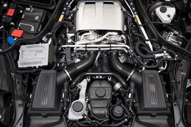 Closeup détail du puissant moteur de voiture