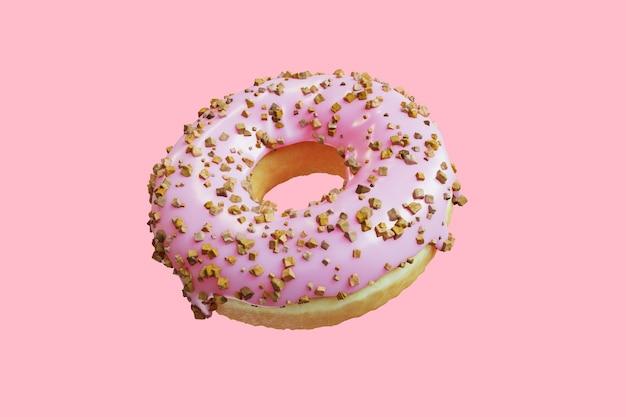 Closeup donut garniture avec glaçage aux amandes sucré isolé flottant sur fond rose. rendu 3d.