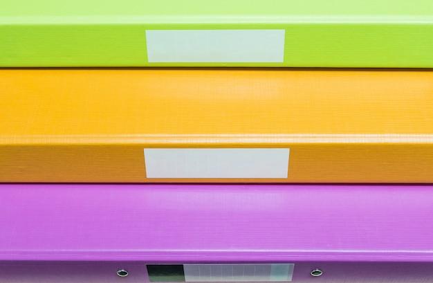 Closeup groupe d'arrière-plan de fichier de document coloré