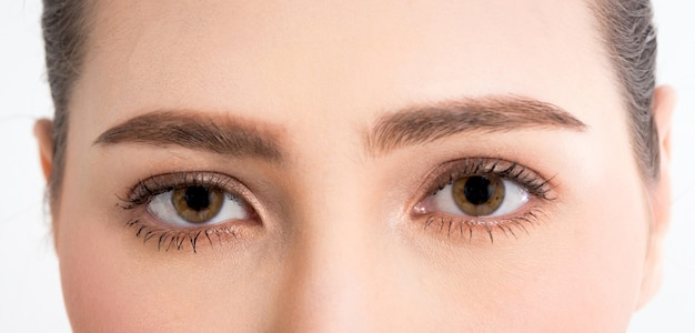 Closeup of eyes femme avec une peau saine de maquillage complet