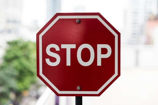 Closeup of stop road sign
