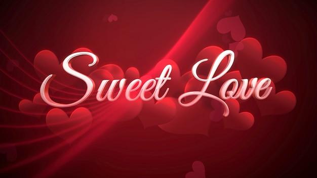 Closeup texte sweet love et coeur romantique sur fond brillant de saint valentin. illustration 3d de luxe et de style élégant pour les vacances