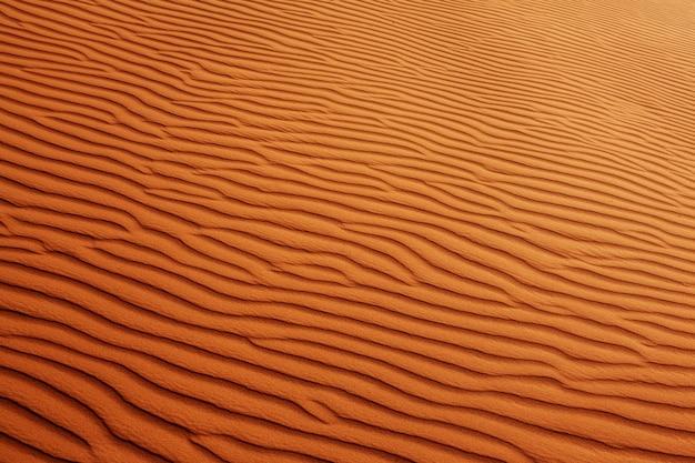 Closeup texture du désert de sable ondulé. vue d'en-haut