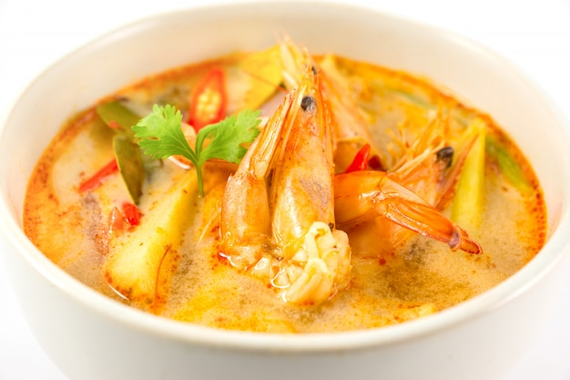 Closeup tom yum soup