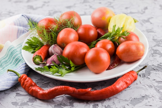 Closeup tomates et légumes