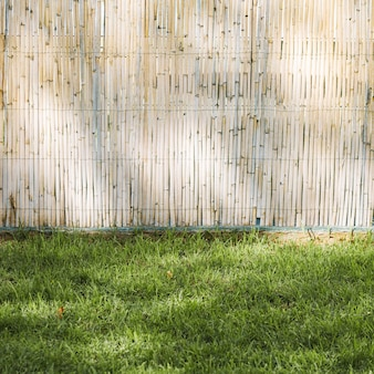 Clôture en bambou et herbe