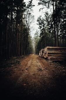Clôture en bois marron sur chemin de terre marron