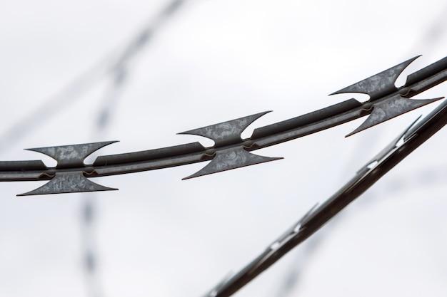 Clôture avec un fil de fer barbelé